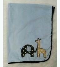 Lambs & Ivy Baby Blanket Blue Brown Giraffe Elephant Boy Circles Security B87 - $16.99