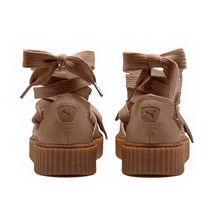 Puma Fenty Bow Creeper Sandal Womens 6 Ankle Laced Rihanna Natural Brown Leath - $89.95