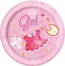 Pink Clothesline Baby Shower Dessert Plates 8 Ct Birthday Party Supplies... - $2.92