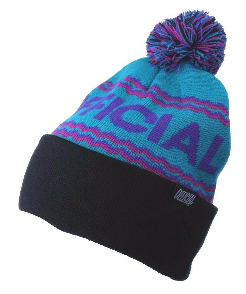 Official Crown of Laurel Turquoise Purple Alpini Togano Pom Beanie Winter Hat NW
