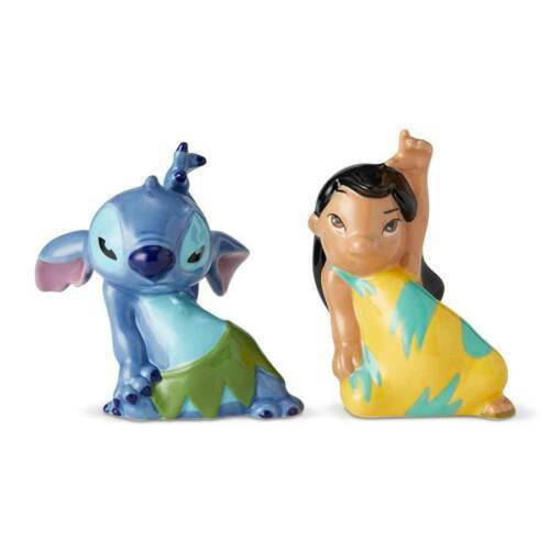 Walt Disney Lilo and Stitch Dancing Ceramic Salt & Pepper Shakers Set NEW BOXED