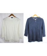 NWT ANN TAYLOR Women's 3/4 Sleeve Knit Shoulder Zip Anchor Sweater MSRP $89 - $39.99