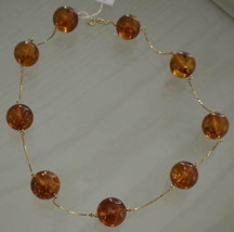 Necklace Yellow Gold 750 18K with Amber 1, CM - $881.44