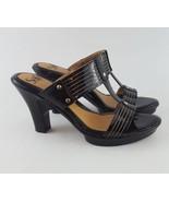 Sofft pumps slides sandals strappy black patent leather 8 - $28.04