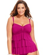 Kenneth Cole Reaction Tiered Ruffle Tankini Top RS3RL88 Pink Large - $59.99