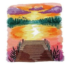 Custom and Unique Sunset Dreams on The Lake Embroidered Iron on/Sew Appl... - $37.62