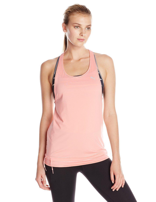 Puma Women's Active-wear Bubble  Salmon Rose Reflective Cat Logo Tank Top – M