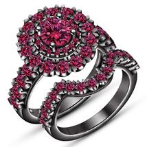 Women's Pink Sapphire Bridal Wedding Ring Set 14k Black Gold Plated 925 Silver - $96.75