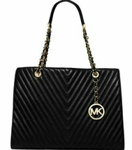 ☀MICHAEL KORS SUSANNAH LARGE BLACK QUILTED-CHEVRON LEATHER CHAINED TOTE ... - $239.99