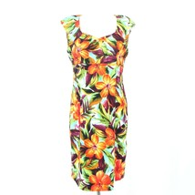 Dressbarn Sheath Dress Tiger Lily Floral Cap Sleeves Lined Womens Size 12 - $23.13