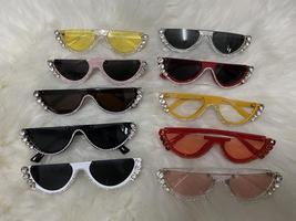 2021 Crystal  trendy half frame rimless cat eye sunglasses Sun glasses Womens su image 6