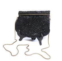 Vintage Bechamel Beaded Purse Evening Bag Convertible Clutch Black & Gold  - $15.00