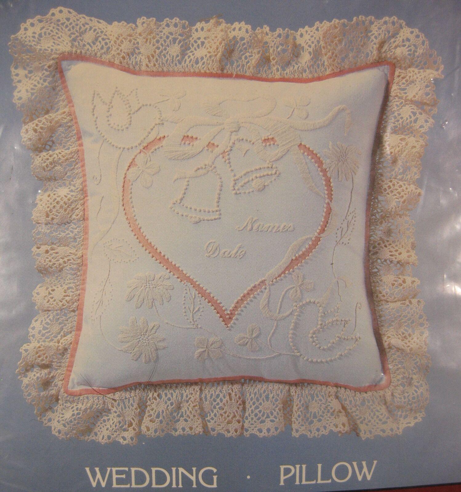 Cathy Needlecraft Wedding Pillow 7955 Sealed Candlewicking Kit 14x14 Vintage - $17.95