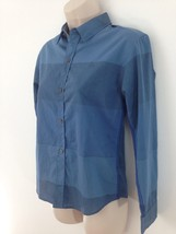 Calvin Klein Jeans Womens M Blue Big Stripe Button Front Top Blouse Shirt - $9.90