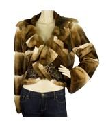 Roberto Cavalli Chinchila Brown Beige Fur Short Jacket Coat Leopard Silk... - $10,889.01