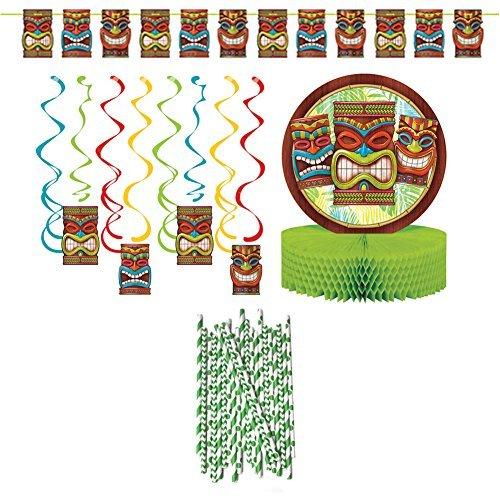Luau Tropical Hawaiian Tiki Time Party Decoration Party Supplies Pack: Straws, P