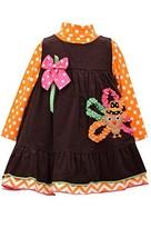 Bonnie Baby Girls' Orange Corduroy Jumper with Turkey Applique 4T, Brown - $34.84