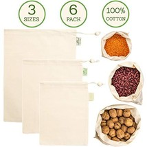 Muslin Produce Bags - Organic Cotton Reusable Eco Bag - 3 Sizes Large, M... - $24.59