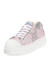 Prada Metallic Jacquard Fabric Double-Sole Sneakers 39.5 MSRP: $580.00 - $395.99