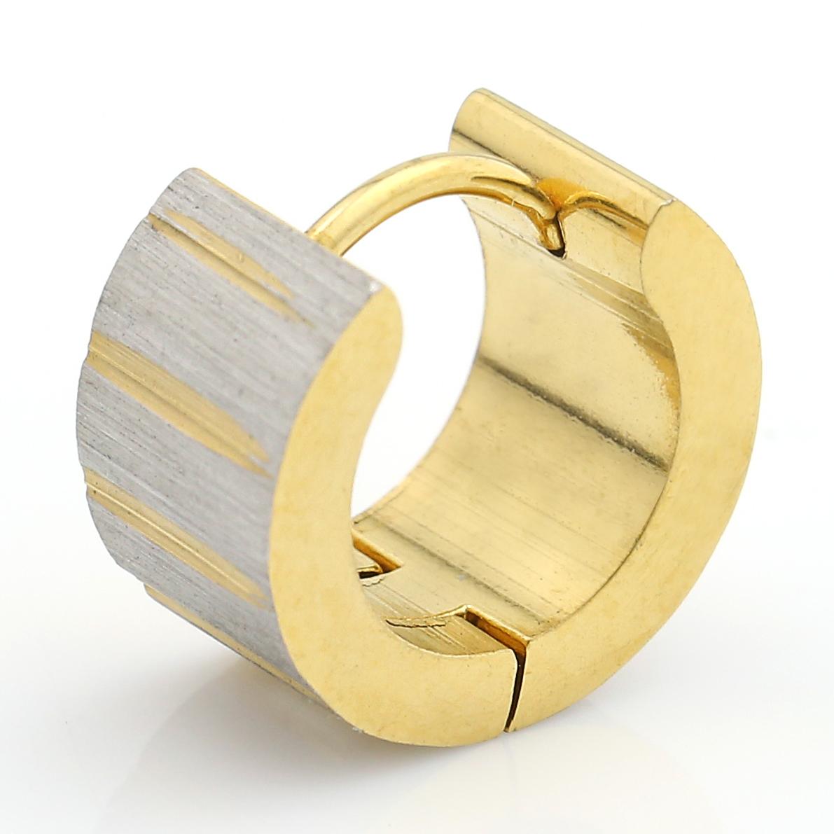 UNITED ELEGANCE Stylish Two Tone (Silver & Gold Tone) Huggie Hoop Earrings image 4