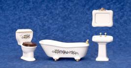 Dollhouse Miniature Bathoom 4pc Floral Porcelain Bathroom Set - $26.72
