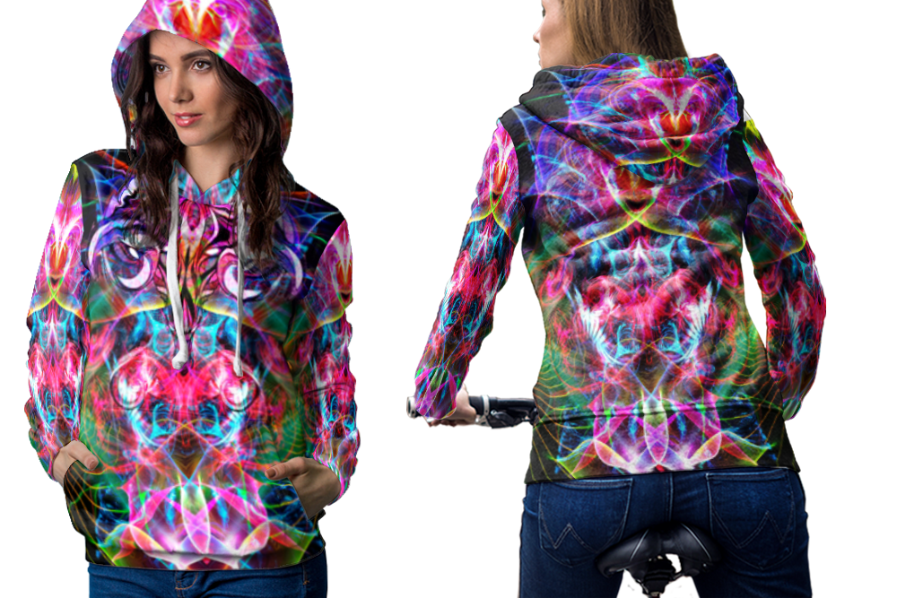 Psychedelic face magic mushroom spiritual trippy tongue dmt l hoodie women