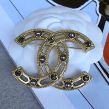CHANEL 2017 CC Light Gold Pearl Crystal LARGE Logo Iconic PIN BROOCH