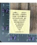 Stampin' Up! Heart Affection Love Words Rubber Stamp 2004 Wood Mount #P99 - $2.23