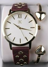 I.N.C. Women's Gold Tone Embossed Faux Leather Strap Studs 38mm Watch + Bracelet image 3