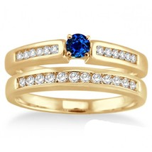 1.25Ct Sapphire & Simulated Diamond Affordable Bridal Set 14K Yellow Gold Fn  - $99.99