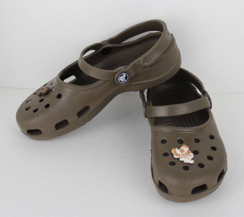 Crocs Mujer Zuecos Sandalias Gomilla Marrón Talla 7
