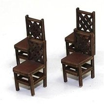 4Ground 28mm Furniture: Medium Wood Square Back Chair (A)