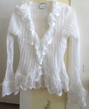 NEW Beautifully Detailed Sheer Top by ANDREA ROSATI~White~Small~Ruffles ... - $99.99