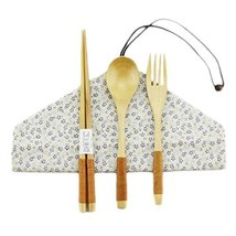 Japanese Natural Wooden Chopsticks Spoon Forks Cutlery Set Travel Cloth ... - $25.70