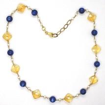 Collar Plata 925 , Amarillo, Cuarzo Citrino Facetado, Cianita, Perlas Redondo image 2