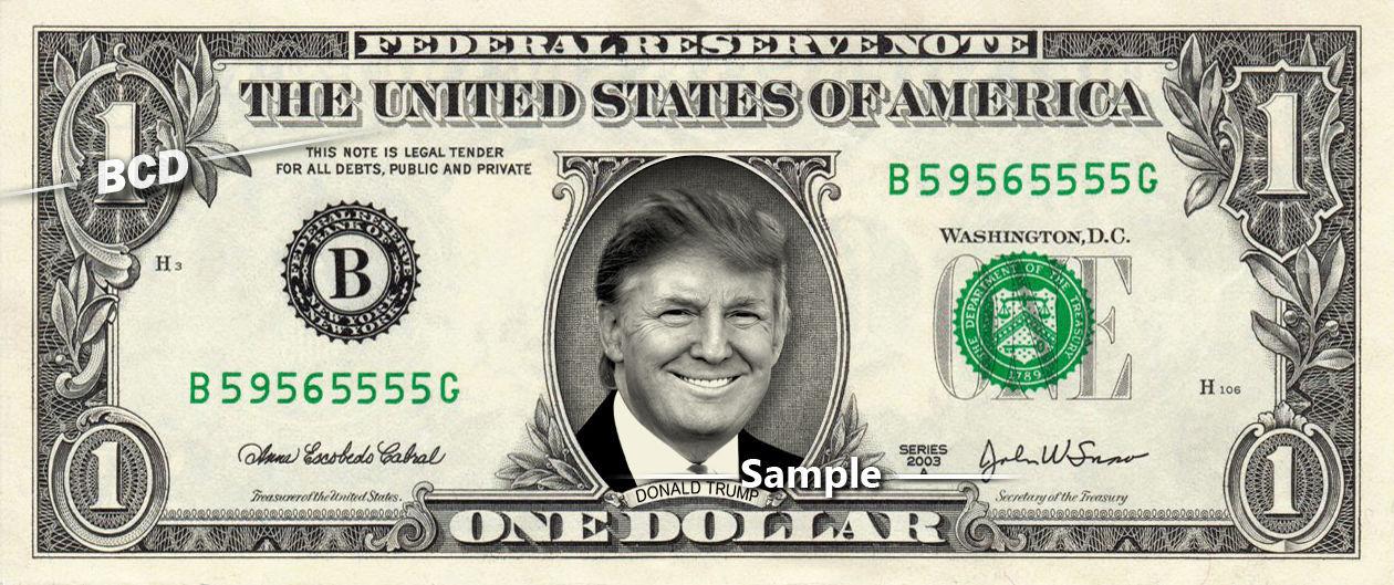 DONALD TRUMP on REAL Dollar Bill Cash Money Memorabilia Collectible Celebrity