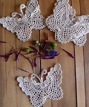 "AK-Trading - Pack of 6 - 3"" Inch Ivory Butterfly Crochet Lace Doily - Crocheted  - $14.80"