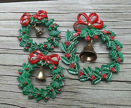 Christmas Brooch set enameled stainless steel vintage 3 pieces red green - $24.00