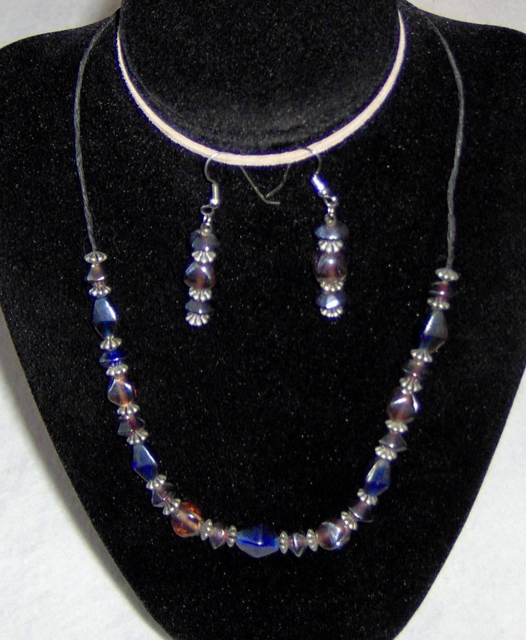 American Made!  Choker & Earring Set,Deep Blue & Pink Octagonal Beads