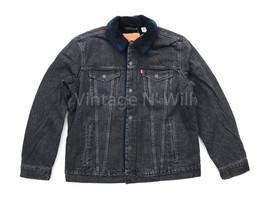 Levis Mens XL Black Wash/ Blue Buffalo Plaid Sherpa Denim Jean Trucker J... - $85.49