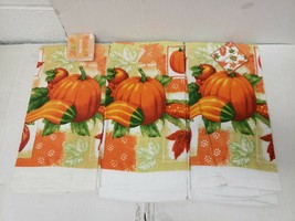 "SET OF 3 PRINTED KITCHEN TOWELS, (15"" x 25"") PUMPKIN, HARVEST by TG - $14.84"