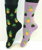 2 PAIRS Foozys Women's Socks PINEAPPLE Print, Purple, Black, NEW - $8.99