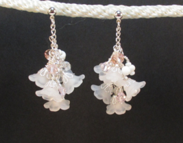 Flower Cluster White w Pink Crystal on Chain Earrings post silver color HC - $10.21