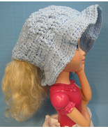 Pony Tail Brim Sun Hat Light Baby Blue Handmade Crochet by Bren - $20.00