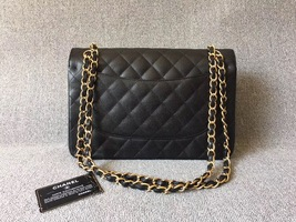 AUTHENTIC NEW CHANEL BLACK CAVIAR QUILTED JUMBO DOUBLE FLAP BAG GOLD HARDWARE image 3