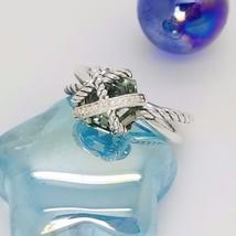 David Yurman Sterling Silver Prasiolite Cable Wrap Diamond Ring Size 8 - $246.51