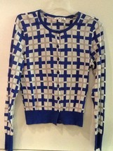 CAbi S Blue White Gray Frame Plaid Button Front Long Sleeve Cardigan Swe... - $17.95