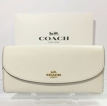 COACH F54009 Slim Envelope Crossgrain Leather Wallet Chalk White NWT - $79.99