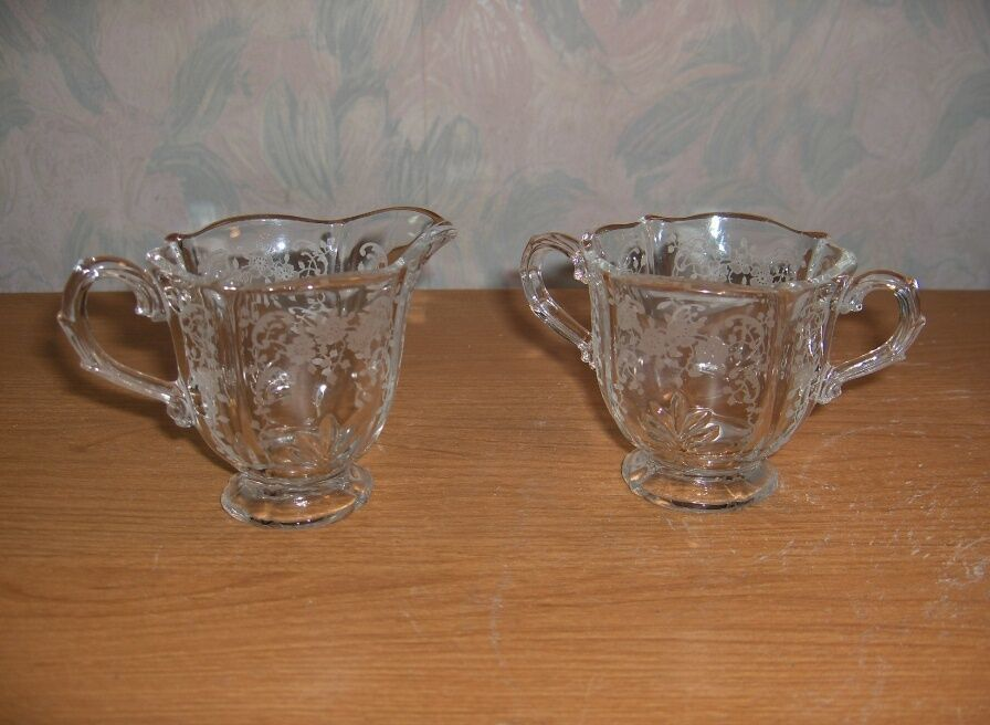 Primary image for Vintage Fostoria Crystal Glass Chintz Baroque Individual Creamer Open Sugar Etch