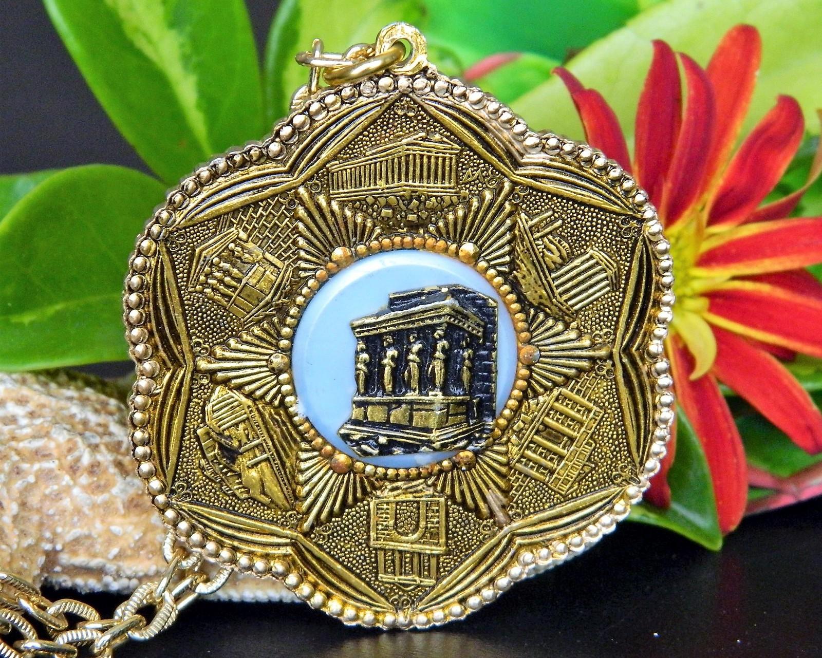 Vintage Athens Parthenon Acropolis Greek Greece Souvenir Necklace